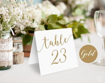 Gold Wedding Table Numbers, Printable Tent Style Table Numbers, INSTANT DOWNLOAD, 5x5 Folded, VW10GOLD