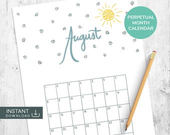 August Printable Calendar, Month Wall Calendar, Perpetual Calendar, Single Month Calendar, Hand Drawn Calendar, Hand Lettered Calendar