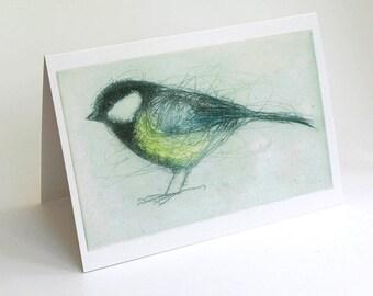 Great Tit Card, Greeting Card, Bird Art Card, Bridget Farmer, Bird Art,