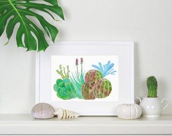 Succulents watercolour print - A4 artwork