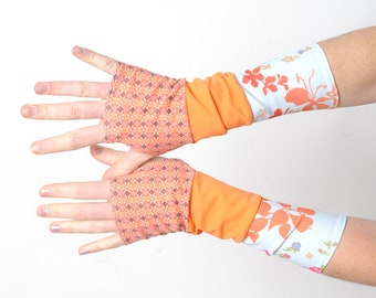 Orange and blue armwarmers, Orange patchwork gloves, Jersey fingerless gloves, Fun wrist warmers, Womens accessories, Gift for women, MALAM