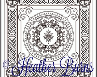 Coloring Page/Classic Celtic Mandala/Adult Coloring/Colouring Page