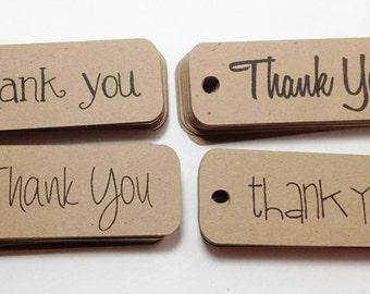 Thank You Tags - Favor Tags - Wedding Thank You - Wedding Favor Tags - Rustic Wedding Tags - Favor Bag Tags - Kraft Tags - Brown Kraft Tags