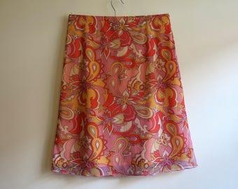 Orange Pink Skirt Paisley Print Knee Skirt Elastic Waist Jersey Skirt A-Line Stretchy Skirt Medium Size