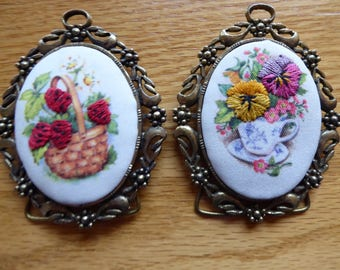 Vintage PAIR Ornate  Brass Frames With Needlepoint Free Standing