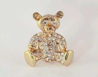 Rhinestone Teddy Bear Brooch Pin