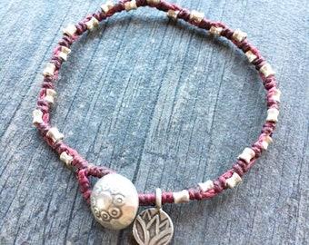Dark Purple Silver Beads Bracelet