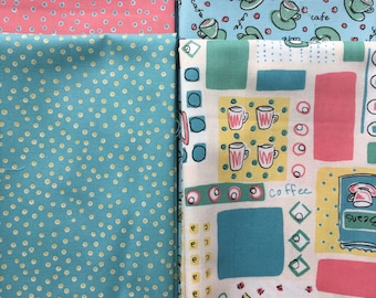 Coffee Break from Riley Blake - 6 Fat Quarters of Retro Coffee Fabric - Mint, Coral, Blue on Creamy White - Coffee Cups, Dots, Geometrics
