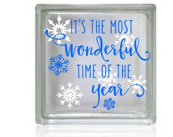 It's the Most Wonderful Time of the Year, Snowflakes, decal for DIY Glass Block, Decal sticker, your color choices