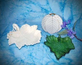 Vintage Green Glass Leaf Dish. Beautiful Porcelain Leaf Dish. Fine Bone  China Leaf Dish