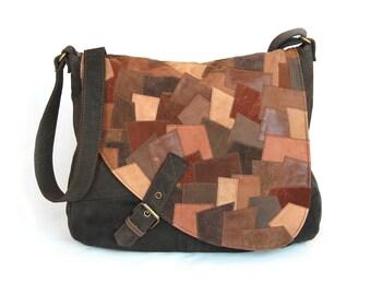 Large shoulder bag leather patchwork