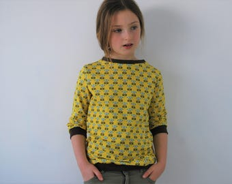 Childs yellow sweater 7-8yrs SALE spring jersey floral retro top pretty flower summer vintage style cotton funky kids spring toddler