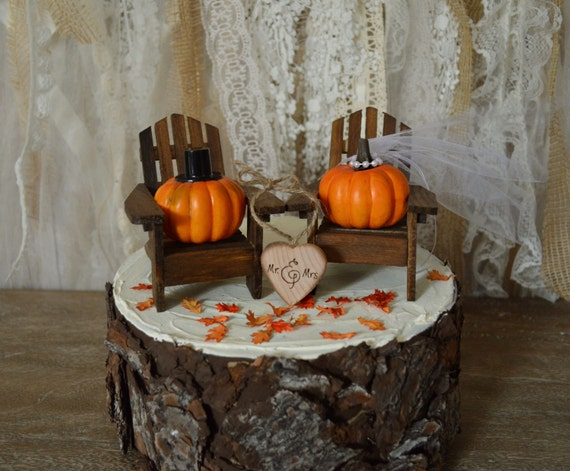 Pumpkin Fall Autumn Wedding Cake Topper Themed Thanksgiving