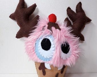 Medium Pink Cupcake Monster - Hand-stitched plush cupcake toy