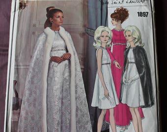 Misses 60s Vogue Paris Original Yves Saint Laurent Evening Dress & Cape A-line Fur Vintage 1960s Vogue 1897 Sewing Pattern Size 14 Bust 36