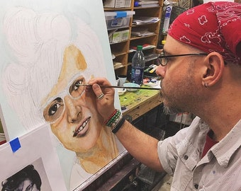 Fantasy Portrait Rafi Style - Commissioned Original painting by artist Rafi Perez Mixed Medium on Canvas
