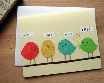CARD: Good Luck Birdies - Blank Card, Any Occasion, Good Luck, Wishes, Prayers