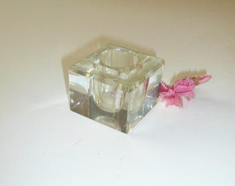 Antique Crystal Square Shaped Inkwell Art Deco Collectible Gift for Men by VintageReinvented