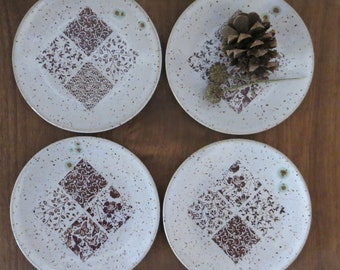 Tapas Snack Plate Set of 4 - Handmade Stoneware Ceramic Pottery - White - Abstract Design