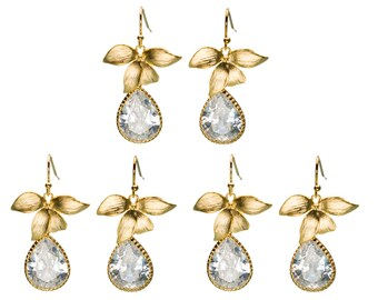 Large CZ Drop Earrings, Flower Earrings, Orchid Earrings, Wedding Jewelry, Bridesmaid Jewelry, Mother's Day