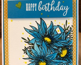 Sunflower card_handmade Birthday Wishes_blank birthday card