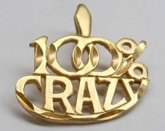 14kt Yellow Gold Diamond Cut One Hundred Percent Crazy Charm Pendant 100%