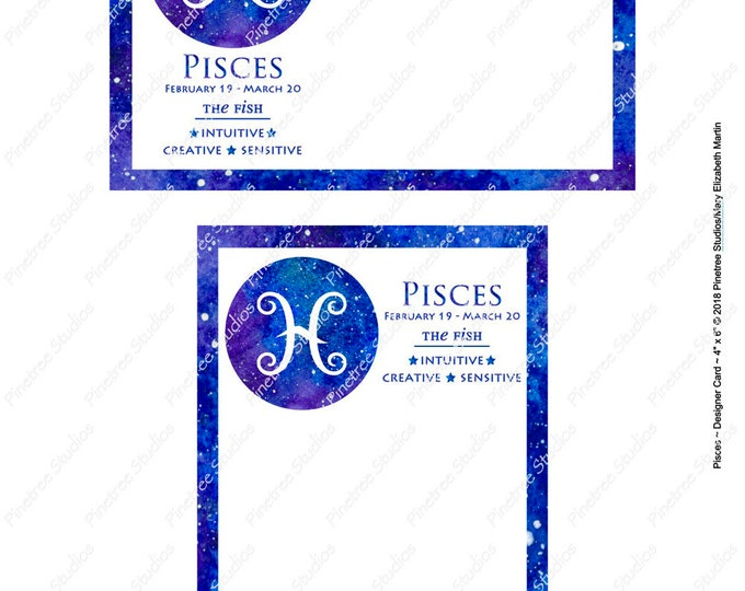 "Pisces ~ Zodiac Sign Postcards (4"" x 6"" Landscape and Portrait) Digital Download ~ Printable / Journal Label / Card / E-Card / Ephemera"