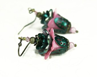 Pink and Green Hand Dyed Lucite Flower Earrings, Swarovski Crystals, Czech Glass, Vintage Victorian Style, Antiqued Brass, Gifts for Her