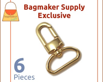 """1 Inch Swivel Snap Hook, Gold Finish, 6 Pack, Handbag Bag Making Hardware, Purse Supplies, 1"""", Lobster Claw, SNP-AA098"""