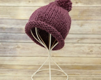Handmade Knit Purple Beanie