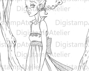 Vampire Girl. INSTANT DOWNLOAD Digital Digi Stamps.