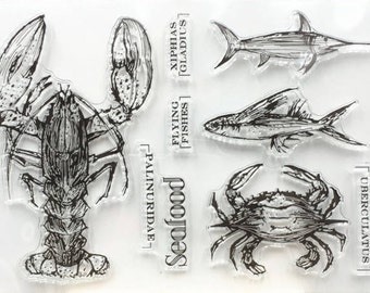 Seafood Clear Rubber Stamp Set w/ crab, lobster, flying, fish, swordfish, transparent