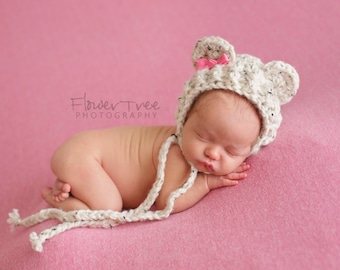 Newborn Bear Bonnet, Baby Bear Hat, Newborn Hat, Newborn Baby Hat, Newborn Photo Prop, Infant Hat, Crochet Baby Hat, Infant Baby Bonnet