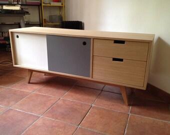 Row 2 sliding doors 2 TV cabinet drawers.