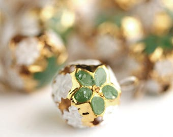 Christmas Bells. Green Poinsettia Bells. Gold Bells. Round Bell Charms with Enameled Green Flowers. Christmas Flower Bells. 23mm x 17mm