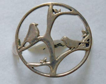 6.5 Sterling Silver Bird Ring New Vintage Stock Branch Twig Tree
