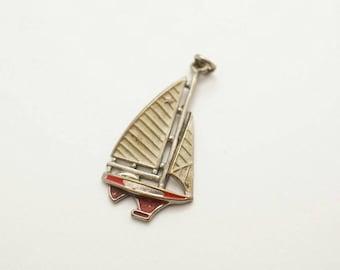 Vintage Enamel/Metal Sailboat Charm