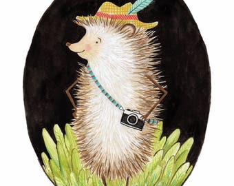Hipster Hedgehog print with mat
