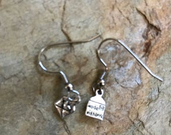 Envelope mail with heart charm earrings