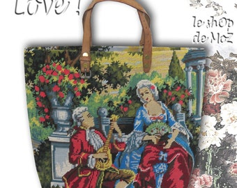 French Tapestry Handbag, Needlepoint Purse French Scene: L'Augusta