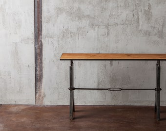 industrial bar height table rustic console table pub table. Black Bedroom Furniture Sets. Home Design Ideas