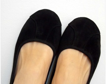 ISLANDER- Ballet Flats - Suede Shoes -40- Black. Available in different sizes