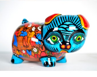 South American Piggy Bank Hand Painted