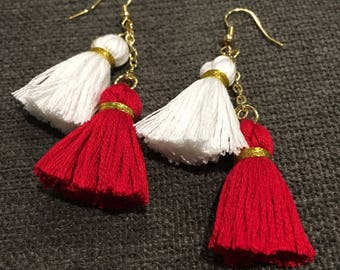 Red and White Wisconsin Tassel Earrings