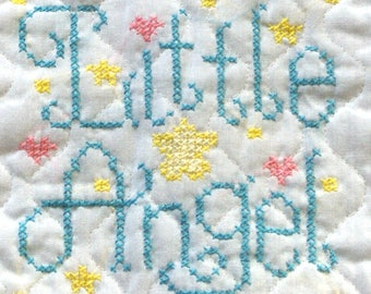 """Completed Finished Cross Stitch Embroidery Baby Bib """"LITTLE ANGEL"""" Blue Lettering with Pink & Yellow Stars"""