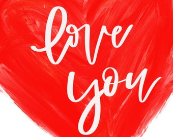 Love You Red Heart Printable