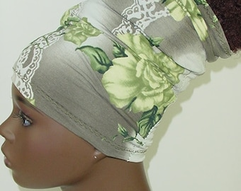 Natural Hair Accessories-Locs-HeadBand-HeadTube- Head Wrap - Headwrap - Green Gray Floral-Flowers