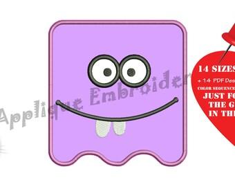 Monster Face Embroidery Applique Design- Square Face Applique - Emoticon Applique Patterns-Instant Download-PES
