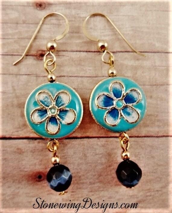 Blue and White Enamel Flower Earrings
