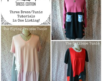 3 Ring Circus Tutorial Tunic Three Pack PDF Tutorials Womens Plus Babydoll Dress Art Tunic TUTORIALS ONLY